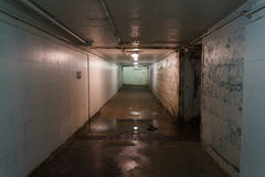 Tunnel. An underground tunnel with a damp or decay look. Dim lights cast a green or yellow tinge to the peeling paint on the walls. Pipes run along the ceiling Royalty Free Stock Photography