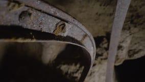 A tunnel underground. A medium shot of a tunnel underground stock video