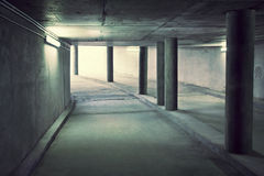 Tunnel of underground parking. Underground road Royalty Free Stock Images