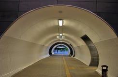 Tunnel. An underground passage, railway station, Warsaw stadium, the suburban rail link, connecting platforms stuel stock photo