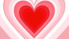 Tunnel van het de dag voorzag de romantische kleurrijke hart van Valentine animatie in 4K van een lus stock footage