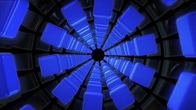 Tunnel van kubussen in blauwe kleur op zwarte stock footage