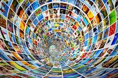 Tunnel van media, beelden, foto's Stock Afbeelding