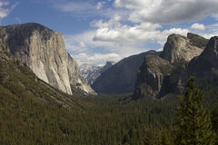Tunnel View with El Capitan and Half Dome Stock Photography