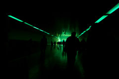 Tunnel view with green light Royalty Free Stock Photography