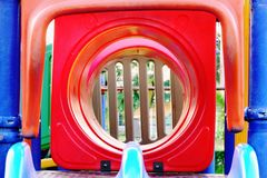 Tunnel view playground for kids stock photo