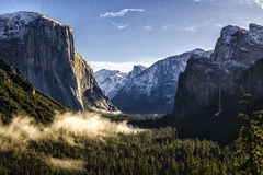 A yosemite tunnel view winter morning. Royalty Free Stock Photography