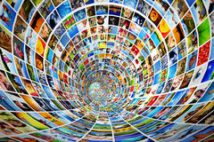 Tunnel von Medien, Bilder, Fotografien Stockbild