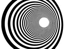 Tunnel vortex in concentric black and white stripes Royalty Free Stock Photo