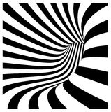 Tunnel vortex in concentric black and white stripes Stock Image