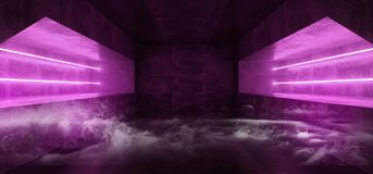 Tunnel vuoto porpora di Violet Glowing Grunge Concrete Dark di realtà virtuale vibrante fluorescente al neon futuristica di Sci F illustrazione vettoriale