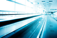 Tunnel-walkway in Prague airport Royalty Free Stock Photo