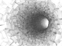 Tunnel with walls made of chaotic blocks 3d. Abstract white tunnel interior with walls made of technological chaotic blocks. Digital 3d illustration stock illustration