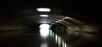 Tunnel with water. Royalty Free Stock Images