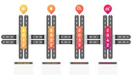 Tunnel way roadmap timeline elements with markpoint graph think search gear target icons. vector illustration eps10. Tunnel way roadmap timeline elements vector stock illustration