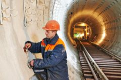 Tunnel worker at underground construction site Royalty Free Stock Photo