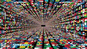 Tunnel of World Flags, loop stock video footage