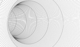 Tunnel or wormhole. Digital 3d wireframe tunnel. 3D tunnel grid. Network cyber technology. Surrealism. Background abstract vector stock illustration