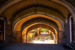 Tunnel yard to residential building Stock Photos