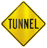 Tunnel yellow traffic sign Stock Photography