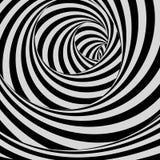 Tunnel Zwart-witte abstracte gestreepte achtergrond Optisch art 3d vectorillustratie stock illustratie