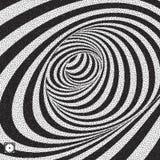 Tunnel Zwart-witte abstracte gestreepte achtergrond Pointillismepatroon met optische illusie Gestippelde vectorillustratie royalty-vrije illustratie