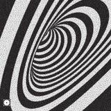 Tunnel Zwart-witte abstracte gestreepte achtergrond Pointillismepatroon met optische illusie Gestippelde vectorillustratie stock illustratie