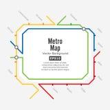 Tunnelbanaöversiktsvektor Fiktiv stadskollektivtrafikintrig Färgrik bakgrund med stationer Royaltyfria Foton