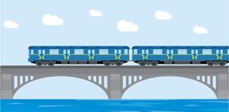 Tunnelbana för gångtunneldrev på bron Plan vektorillustration Arkivbild