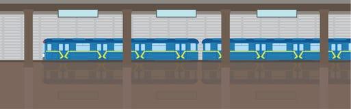 Tunnelbana för gångtunneldrev på station Plan vektorillustration Arkivfoto