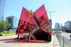 Tunnelbana i Warszawa, Polen Arkivfoto