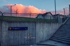 Tunnelbana vid den raiway stationen arkivbilder
