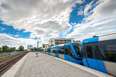 Tunnelbanadrev av Stockholm på slutstationen på Fruangen Royaltyfri Fotografi