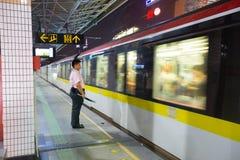 Tunnelbanadrev och personal Fotografering för Bildbyråer