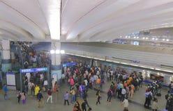 Tunnelbanagångtunnel underjordiska New Delhi Indien Arkivbild