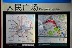 Tunnelbananätverksöversikt på folks fyrkantiga station Shanghai Kina arkivbild