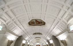 Tunnelbanastation Belorusskaya (den Koltsevaya linjen) i Moskva, Ryssland Det öppnades i 30 01 1952 Royaltyfri Fotografi