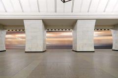 Tunnelbanastation Chekhovskaya i Moskva, Ryssland Det öppnades i 08 11 1983 Arkivfoto