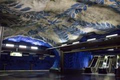 Tunnelbanastation i Stockholm, Sverige Fotografering för Bildbyråer