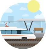 Tunnelbanastation Snabbt drev på det järnväg stoppet Bakgrund för vektorillustrationrunda Royaltyfri Foto