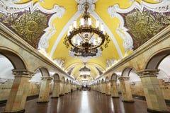 Tunnelbanastationen Komsomolskaya i Moskva, Ryssland Royaltyfri Bild