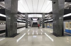 Tunnelbanastationen Petrovsky parkerar -- är en station på den Kalininsko-Solntsevskaya linjen av Moskvatunnelbanan, Ryssland Fotografering för Bildbyråer