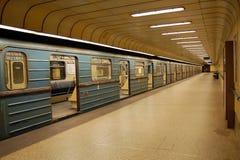 Tunnelbanastopp i Budapest Arkivfoton