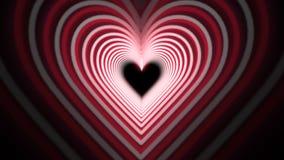 Tunnelen för hjärta för den härliga valentins dagromantiker kretsade den röda animering i 4K