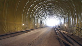 Tunneling. Building site tunnel. Car in a tunnel stock footage
