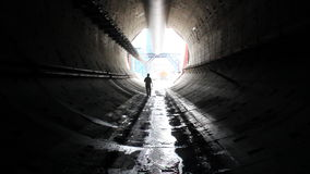 Tunneling process. People in a tunnel. Building site stock video