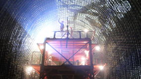 Tunneling process. Welders on construction site of highway tunnels stock footage