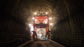Tunneling process. Welders on construction site of highway tunnels stock video footage