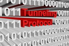 Tunneling protocol. In the form of binary code, 3D illustration Royalty Free Stock Photos