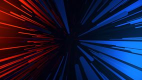 Tunneling trajectory. Abstract multicolored hyperspace tunnel on black background. Projection of slow motion of photons.  vector illustration